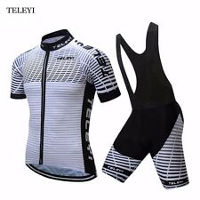TELEYI Mens Team Outfits Cycling Jersey Bib Shorts Sets Bike Bicycle Sportswear
