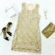 SIZE S M L GREAT GATSBY 1920s GOLD SEQUIN DOWNTON ABBEY CHARLESTON FLAPPER DRESS