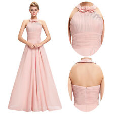 PINK LONG BRIDESMAID FORMAL GOWN BALL PARTY COCKTAIL EVENING PROM CHIFFON DRESS