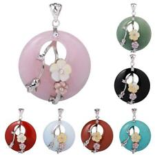 40mm Natural Crystal Gem Gemstone Round Drop Chram Pendant for DIY Necklace Gift