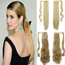 Extra Long Real Clip In Hair Extensions Wrap Around Ponytail hairpiece synthetic