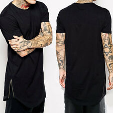 2017 Fashion Men's Casual Solid Zippers Extra-long Short Sleeve Tops T Shirt