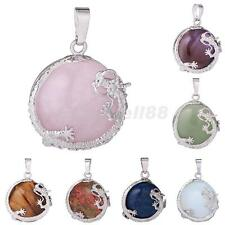 30mm Gemstone Gems Dragon Wrap Round Charms Pendant Bead for DIY Necklace Making