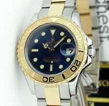 ROLEX Lady Yachtmaster Gold Steel Blue Dial 169623 29mm Rehaut - WATCH CHEST
