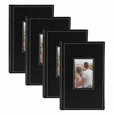 Debossed Black Faux Leather Photo Album, Holds 300 4x6 Photos, Set of 4