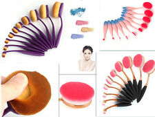 10Pcs Oval Cream Makeup Brushes Set & Foundation Kabuki Toothbrush