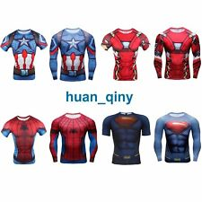 New Superhero Men's Compression T-shirt Superman Spiderman Sports Cycling Jersey