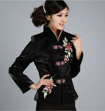 Charming Chinese Women's silk/satin embroidery jacket /coat Black Sz:8-16