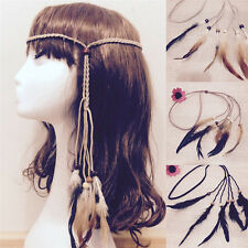 Hippie Indian Feather Headband Handmade Weave Feathers Hair Rope Headdress UE