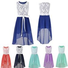 Girls Floral Lace Dress Princess Sleeveless Wedding Formal Party Summer Dress