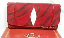 GENUINE STINGRAY SKIN LEATHER WOMEN'S LADIES WALLET SKIN TRIFOLD BLACK RED WHITE