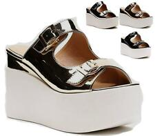 New Ladies Platform Chunky Sandals Womens Strappy Wedge Heel Flatforms Size UK