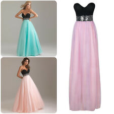 Formal Prom Women Strapless Party Gown Evening Wedding Cocktail Long Maxi Dress