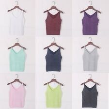 Summer Women Fashion Slim Stretch Vest Glittering Knitted Camisole Crop Tank Top