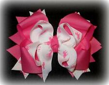 Polo Horse Boutique Hair Bow 3 layers Big Pink White Funky Hairbows Pony Preppy