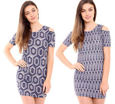 New Womens Ladies Cold Shoulder Multi Zig Zag Print Bodycon Short Mini Dress
