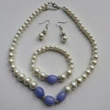 FAUX PEARL NECKLACE BRACELET DROP DANGLE EARRING SET WITH PINK OR LILAC BEADSnew