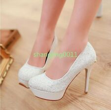 Womens Bling Glitter High Stilettos Heels Platform Round Toe Court Pumps Shoes