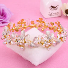 Queen Enamel Tiara Crowns Crystal Pearl Bridal Hair Accessories Pageant Headwear