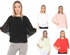 Ladies Womens Chiffon Front Pleated Shirt Top Cape Grecian Sleeve Blouse