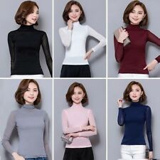 Women Mesh Solid Turtleneck Long Sleeve Casual Slim Tops Shirt Blouse Plus Size