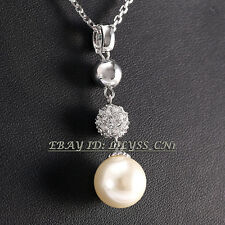A1-P281 Fashion Silver CZ  Rhinestone Pearl 18KGP Necklace Pendant Crystal