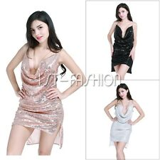 Women Deep V-Neck Sequin Chain Halter Dress Night Club Party Cocktail Mini Dress