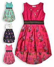 Girls Party Dress New Kids Lace Floral Chiffon Sleeveless Dresses Ages 2-14 Yrs