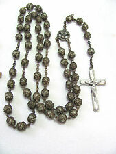 Vintage Pale Jade Glasss Rosary with Fancy Filigree Caps & Silver Cross Fatima