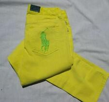 RALPH LAUREN girls polo neon yellow big pony Bowery skinny jeans school NEW