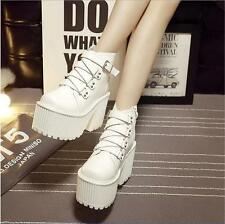 Womens Gothic Plaforms Chunky Heels Buckle Punk Ankle Boots Fashion Shoes New SZ
