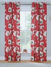 Elissia Poppy Red 100% Cotton Unlined Ring top Eyelet Curtains 66x72 66x90 90x90