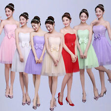 Women Strapless Lace Tulle Bowknot Party Cocktail Evening Bridesmaid Short Dress