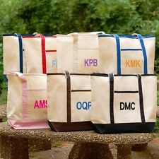 Personalized Tote Bag. Monogrammed with 3 Initials. Cotton Canvas. Color Choices