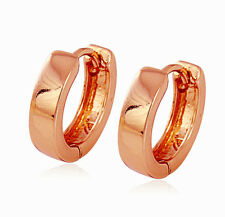 18k Plain Rose Gold Filled GF Shiny Solid Smooth Flat Hoop Huggie Earrings 15MM