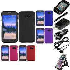 For Samsung Galaxy S7 Active Rubberized Matte Snap-On Hard Case Cover Bundle