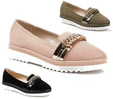 New Ladies Womens Girls Flat Loafers Pumps Ballerinas Bow Diamante Front Sizes