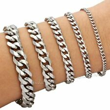 3/5/7/9/11mm Mens Chain Curb Cuban Link Silver Tone Stainless Steel Bracelet HOT