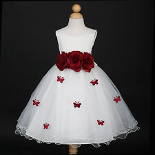 Ivory/Burgundy Wine Holiday Wedding Flower Girl Dress 6M 12M 18M 2 3/4 5/6 8 10