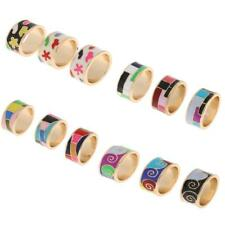 Women Men Unisex Stainless Steel Gold Edge Colored Enamel Ring Band 8mm Size 8