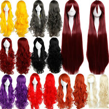 UK Ship Synthetic Full Wigs Curly Straight Full Head Wig Bangs Black Cosplay #cc