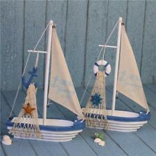 Mini Sailboat Wooden Buoy Sailing Ship Mediterranean Nautical Home Decor Dislpay