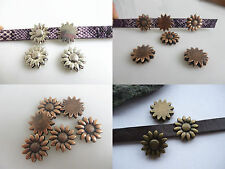 10pcs Antique Silver/Bronze/Copper Flower Slider Spacers For 10*2mm Flat Leather