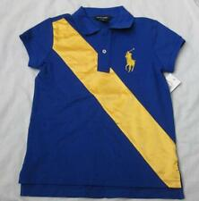 RALPH LAUREN girls royal blue polo yellow big pony satin banner shirt top NEW