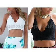 Summer Fashion Women Strappy Deep V Lace Crochet Crop Tops Bra Tee Blouse Shirt
