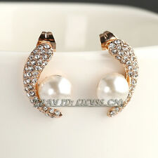 B1-E817 Fashion Rhinestone Pearl Stud Earrings 18KGP Crystal