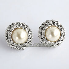 B1-E665 Fashion Button White Pearl Earrings 18KGP Stud