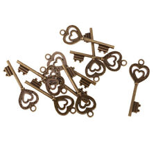 10pcs Vintage old look Heart Key Charms Alloy Pendants Jewelry Making Crafts