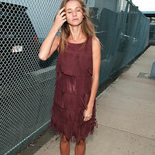 NWT OLIVIA PALERMO + CHELSEA28 Wine Genuine Suede Leather Fringe Mini Dress $288