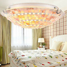Modern White Mother of Pearl Round Flush Mount Ceiling Light Rustic Fixture Deco